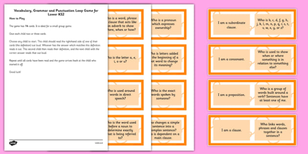 Vocabulary, Grammar and Punctuation Group Loop Game Lower KS2
