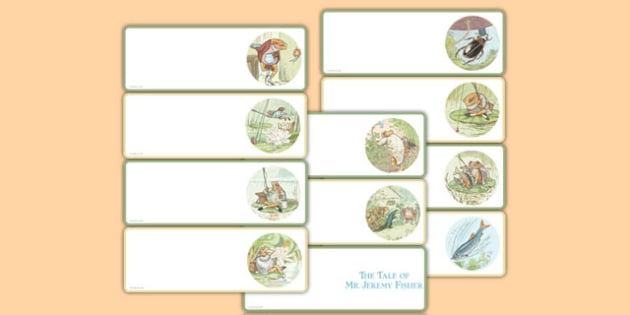 The Tale of Mr Jeremy Fisher Editable Drawer Peg Name Labels - beatrix potter, display, edging, neat, fun, bright, illustrated, books, english, literacy, ks1, key stage 1, early years, traditional, tale, story, tray, children, class, organisation, ma