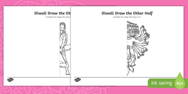 Diwali Draw the Other Half Activity Sheet, worksheet