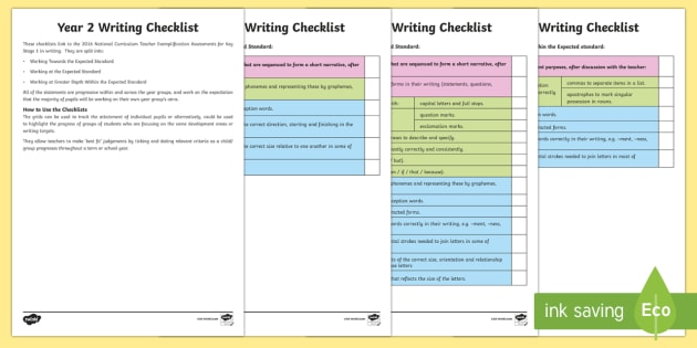 *NEW* Year 2 Writing Checklist - KS1, year 2, writing, assessment, targets, checklist, progress, objectives, working towards, expecte