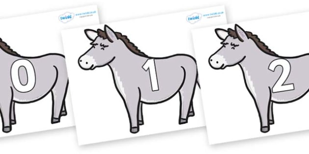 Numbers 0-50 on Donkeys - 0-50, foundation stage numeracy, Number recognition, Number flashcards, counting, number frieze, Display numbers, number posters