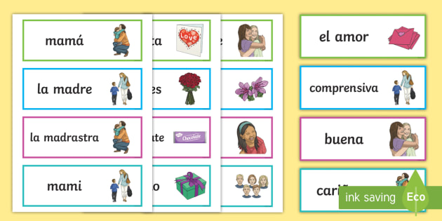 Mother's Day Word Cards -  Spanish - Spanish, KS2, vocabulary, mother's, day, word, cards, Mother's Day, Spanish festivals