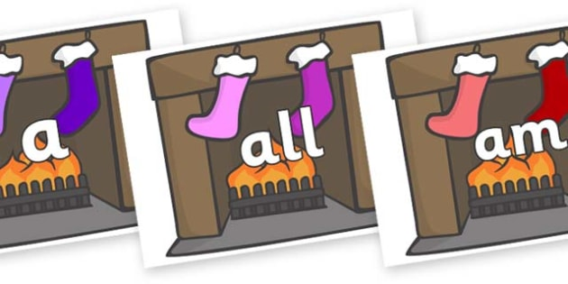 Foundation Stage 2 Keywords on Fireplace & Stockings - FS2, CLL, keywords, Communication language and literacy,  Display, Key words, high frequency words, foundation stage literacy, DfES Letters and Sounds, Letters and Sounds, spelling