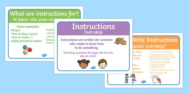 Instructions Writing Display Posters Polish/English