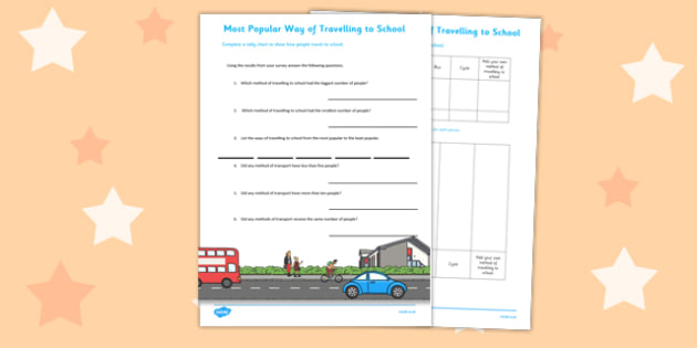 Travelling to School Tally Chart and Pictogram with Questions - data, handling, statistics, ks1, year 2, new curriculum, maths