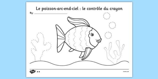 Le poisson-arc-end-ciel le contrôle du crayon français - Français, France, francais, poisson arc-en-ciel