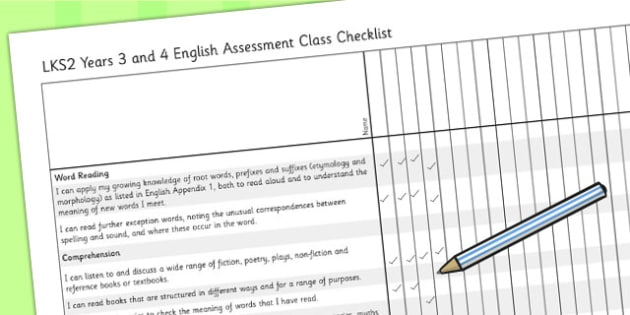2014 Curriculum LKS2 Years 3 and 4 English Assessment Class Checklist