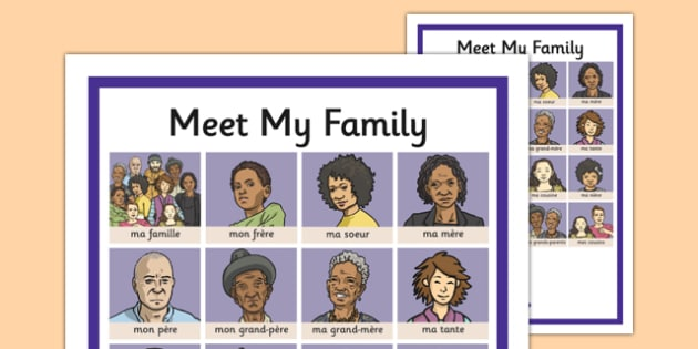 French Meet My Family Word Grid - french, meet my family, meet, family, word grid