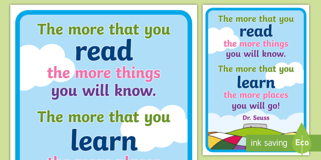 Dr Seuss Reading Quotes Poster - dr seuss, dr seuss poster, dr seuss quote poster, quote poster, display poster, poster, the more that you read poster