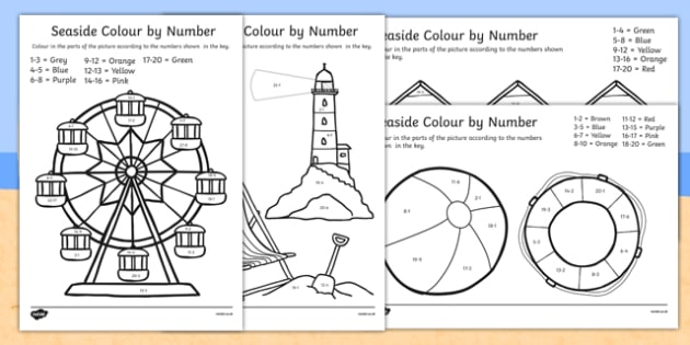 Seaside Subtraction to 20 Colour By Number - subtraction, 20, seaside, colour by number