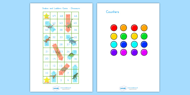 Snakes and Ladders Activity Dinosaurs - dinosaurs, dinosaur games