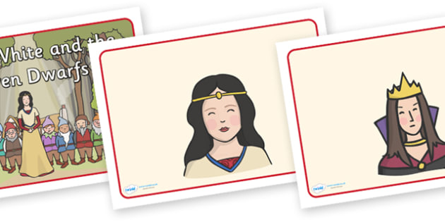 Snow White and the Seven Dwarfs Visual Aids - Snow White and the Seven Dwarfs, Snow White, Dwarfs, Seven Dwarfs, traditional tale, visual aid, aids, tale, magic mirror, the queen, prince, forest, old hag, poisoned apple, kiss, asleep