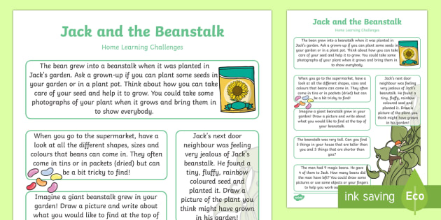Jack And The Beanstalk EYFS Home Learning Challenge Sheet Reception FS2 - EYFS, homework, Early years, traditional tales