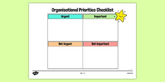 Organisational Priorities Checklist Planner - organisational, priorities, checklist, planner