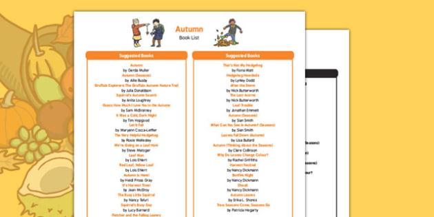 Autumn Themed Book List