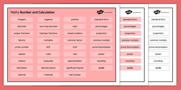 KS4 Maths Word Mat Number and Calculation - KS3, KS4, GCSE, Maths, keywords, vocabulary, revision, number, calculation