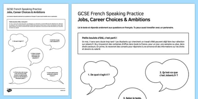 Petits boulots d'été Speaking Practice Activity Sheet - French, worksheet
