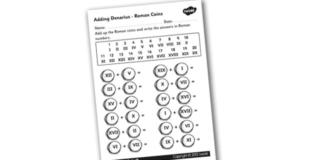 Roman Coins Addition Worksheet - roman coins, roman numerals, addition with roman numerals, roman numerals worksheet, ks2 numeracy, ks2 history, worksheet