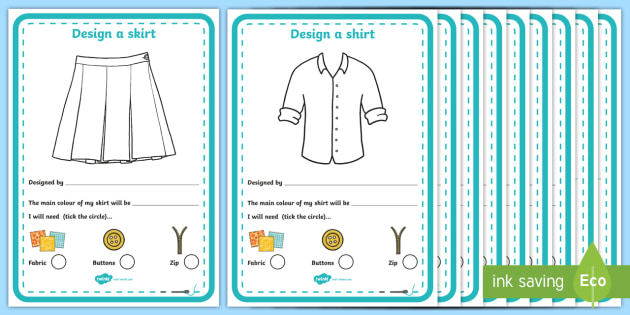 Fashion Design Studio Clothing Design Activity Sheet - fashion design studio, clothing design worksheet, role play, fashion design studio worksheet