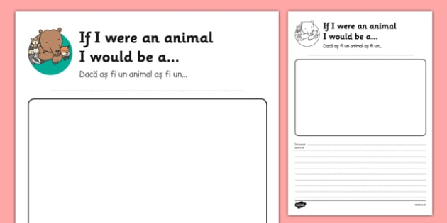 If I Were an Animal I Would Be Transition Writing Frame Romanian Translation - romanian