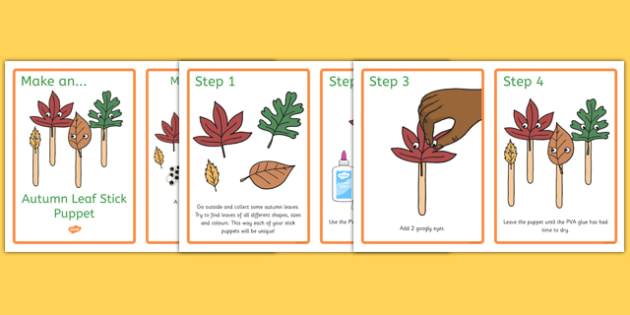 Autumn Leaf Stick Puppets Craft Instructions - paper, cut, make, create, seasons, early years, eyfs, list, information, notes, teacher