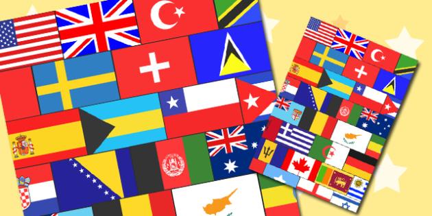 World Flags Themed A4 Sheet - world, flags, themed, a4, sheet