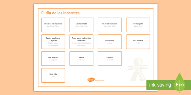 April Fools' Day Word Mat Spanish - april, fools, day, events, festivities, culture, Spanish, Spain, traditions, word, mat, vocabulary