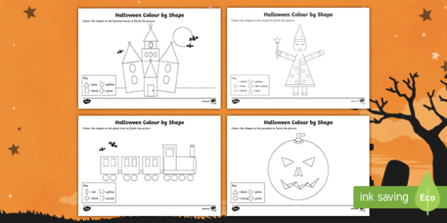 Halloween Themed Colour by 2D Shape Activity Sheet