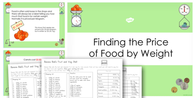 Buying Food By Weight Multi-Step Problems PowerPoint and Worksheets - australia, buying, food