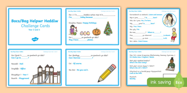 Bocs/Bag Helpwr Heddiw Year 3 and 4 Challenge Cards-Welsh/English, bocs bendigedig