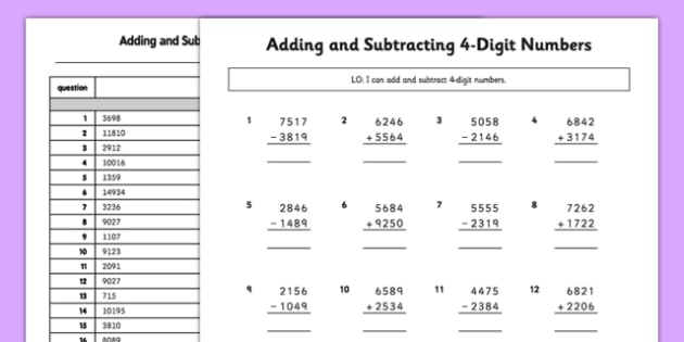 Adding and Subtracting 4-Digit Numbers with Exchanging or Carrying Activity Sheet - adding, subtracting, 4 digit numbers, exchanging, carrying, activity, worksheet