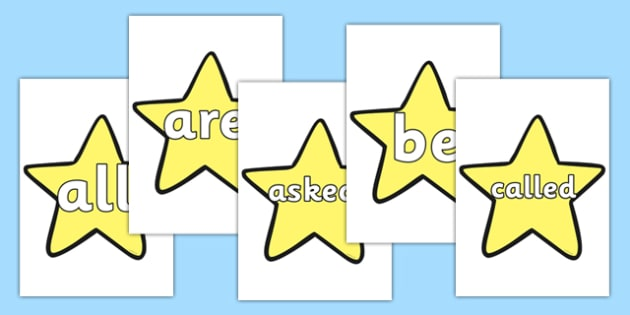 Tricky Words on Stars (Plain) - Tricky words, DfES Letters and Sounds, Letters and sounds, display, words