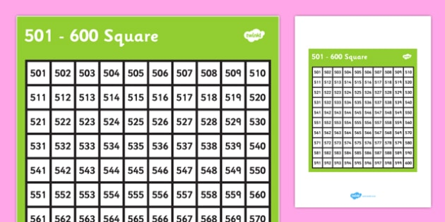 501-600 Square - 501, 600, square, number, number square, maths, numeracy