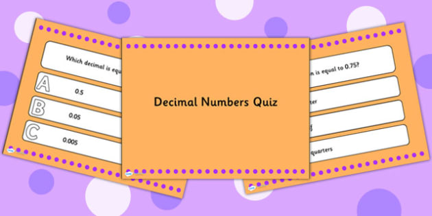 Decimal Numbers PowerPoint Quiz - decimals, numbers, powerpoint
