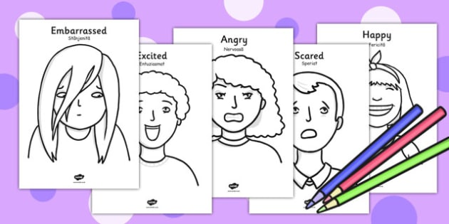 Ourselves Emotions A4 Colouring Posters Romanian Translation - romanian