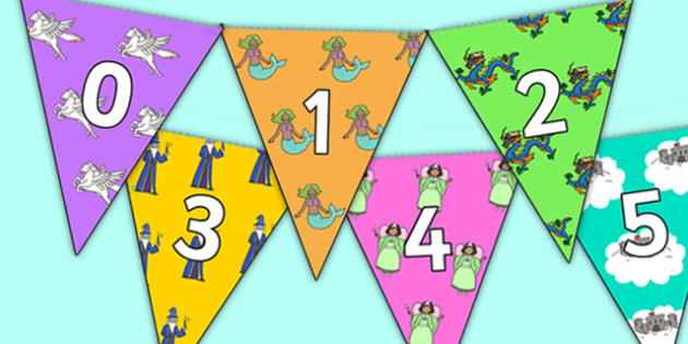 Fantasy Themed 0 31 Bunting - fantasy themed, fantasy bunting, 0-31 on bunting, numberline bunting, fantasy numberline bunting, bunting