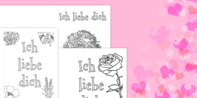 Valentine's Day Card Colouring Templates German - german, Valentine's Day, Valentine, love, Saint Valentine, heart, kiss, colouring, fine motor skills, poster, worksheet, vines, A4, display, cupid, gift, roses, card, flowers, date