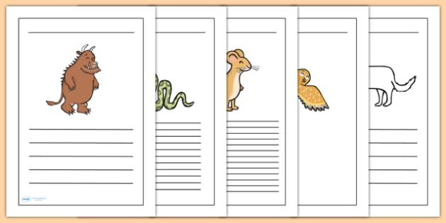 The Gruffalo Writing Frames-  the gruffalo, writing frames, writing aid, writing template, writing guides, line guides, lined pages, guided writing, write