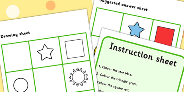 Listen And Do 1 Two Word Level - drawing, levels, worksheets