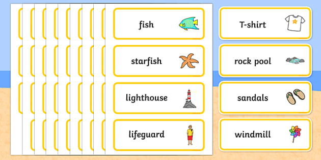 Seaside Word Cards - Word Card, Under the sea, sea, seaside, topic, water, tide, waves, sand, beach, sea, sun, holiday, coast