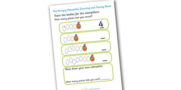 Counting and Tracing Worksheet to Support Teaching on The Very Hungry Caterpillar - counting, tracing, numbers, the Very Hungry Caterpillar,  Eric Carle, resources, Hungry Caterpillar, life cycle of a butterfly, days of the week, food, fruit, story,
