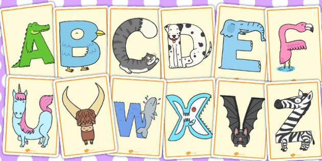 Animal Alphabet Display Posters - animal, alphabet, display, posters