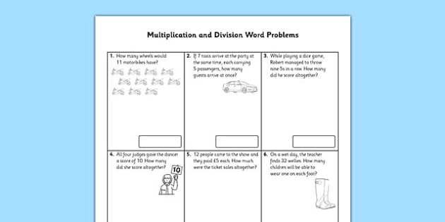 Year 2 Multiplication and Division Word Problems x2, x5, x10 - Real life, context
