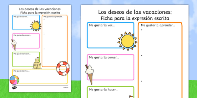 Summer Holiday Hopes Write-Up Worksheet Spanish - spanish, seasons, writing sheet