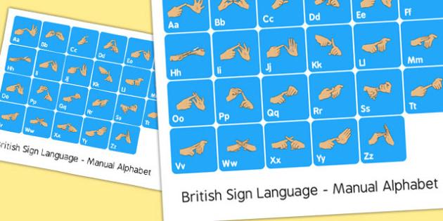 British Sign Language Manual Alphabet Poster - sign language