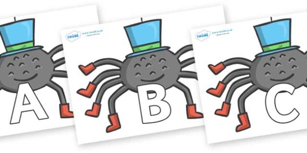 A-Z Alphabet on Spiders - A-Z, A4, display, Alphabet frieze, Display letters, Letter posters, A-Z letters, Alphabet flashcards