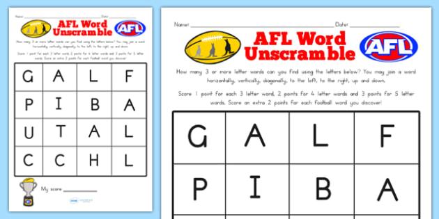 AFL Australian Football League Word Unscramble - scramble, sport