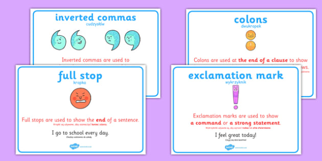 Punctuation Display Posters Polish Translation - polish, punctuation, punctuation posters, speech marks poster, full stop poster, comma poster, capital letters, capitalisation