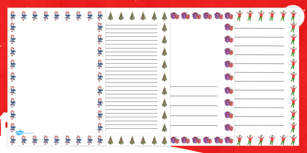Elf Themed Page Borders - page borders, borders, elf, writing