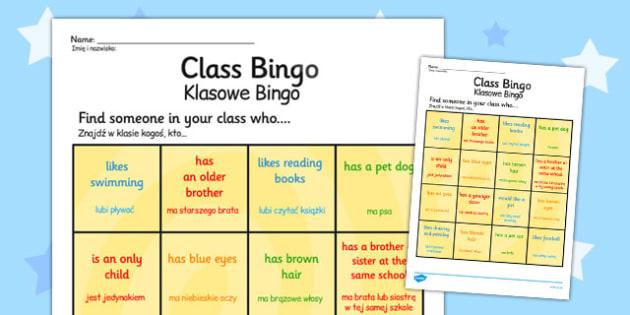Class Welcome Transition Bingo Board Polish Translation - polish